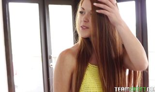 Lusty teen girlie Kimberly Brix receives a huge rod in her snatch
