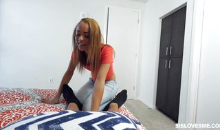 Stupefying Holly Hendrix gives an intense blowjob to her perverted man