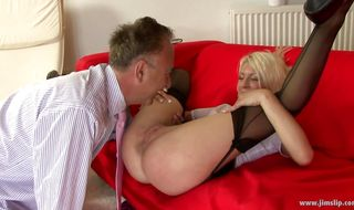 Magical blonde young maid Cyprus got her daily dose of steamy sex from male
