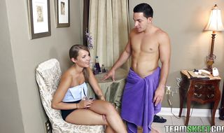 Beguiling blonde diva Liza Rowe gets deeply plowed by a playmate