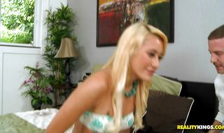 Wanton latin blonde chick Marina Angel has a huge smile on her face because she is about to get banged