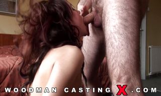 Hard meat member makes lovely latin woman gag and stretch her wet cuchy