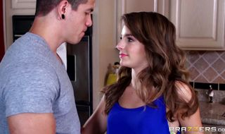 Sultry brunette Kimmy Granger swallows a big hard boner