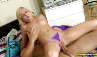 Alluring blonde darling Chloe Foster is gently rubbing fucker's hard pole and getting ready to ride it
