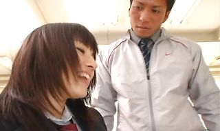 Check out this teen japanese Azusa Nagasawa who jumps on his thick sausage with joy