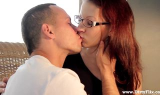 Wanton brunette Tarja King sucks off and rides attractive male