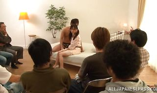 Dirty oriental Rimu Sasahara sucks dude's throbbing wang