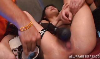 Playful oriental sweetheart Rina Hatsume struggles to swallow a big and hard boner